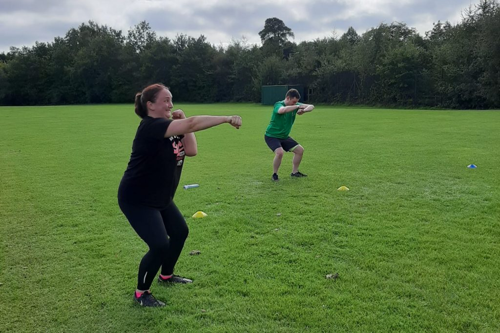 Kirsty and Andrew partaking in socially-distanced circuits at Sliders Fitness